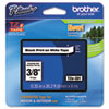 "Brother® P-Touch® TZe Standard Adhesive Laminated Labeling Tape, 3/8""w, Black on White BRTTZE221"