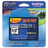 "<strong>Brother P-Touch®</strong><br />TZe Standard Adhesive Laminated Labeling Tapes, 0.47"" x 26.2 ft, Black on Clear, 2/Pack"