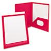 Oxford® ViewFolio Polypropylene Portfolio, 50-Sheet Capacity, Red/Clear OXF57443