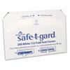 NON-RETURNABLE. SAFE-T-GARD HALF-FOLD TOILET SEAT COVERS, 14.5 X 17, WHITE, 250/PACK, 20 PACKS/CARTON