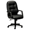 HON® 2090 Pillow-Soft Series Executive Leather High-Back Swivel/Tilt Chair, Black HON2091SR11T