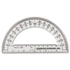 "<strong>Charles Leonard®</strong><br />Open Center Protractor, Plastic, 6"" Ruler Edge, Clear, Dozen"