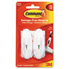 Command™ General Purpose Hooks, Medium, 3lb Cap, Plastic, White, 2 Hooks & 4 Strips/Pack MMM17068