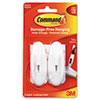 Command™ General Purpose Hooks, Medium, 3lb Cap, Plastic, White, 2 Hooks & 4 Strips/Pack MMM17068
