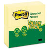Post-it® Notes Greener Original Recycled Note Pads, 3 x 3, Canary Yellow, 100-Sheet, 24/Pack MMM654RP24YW