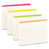 File Tabs, 2 x 1 1/2, Lined, Assorted Brights, 24/Pack
