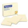 Highland™ Self-Stick Notes, 4 x 6, Yellow, 100-Sheet MMM6609YW