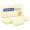 Highland™ Self-Stick Notes, 1 1/2 x 2, Yellow, 100-Sheet, 12/Pack MMM6539YW
