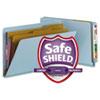Smead® Pressboard End Tab Classification Folders, Legal, Six-Section, Blue, 10/Box SMD29781