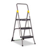 Commercial 3-Step Folding Stool, 300lb Cap, 20 1/2w x 32 5/8d x 52 1/8h, Gray