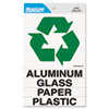 Self-Stick Recycled Combo Decal, Paper/Plastic/Glass/Aluminum, 5.25 x 6 - 0.88 x 6, White/Green, Kit