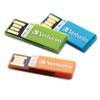 Verbatim® Clip-It USB 2.0 Flash Drive, 4GB, Blue/Green/Orange, 3/Pack VER97563