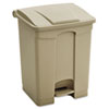 Large Capacity Plastic Step-On Receptacle, 17gal, Tan