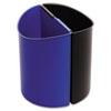 DESK-SIDE RECYCLING RECEPTACLE, 3 GAL, BLACK/BLUE