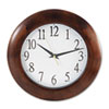 "Round Wood Wall Clock, 12.75"" Overall Diameter, Cherry Case, 1 AA (sold separately)"