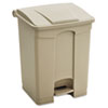 Large Capacity Plastic Step-On Receptacle, 23gal, Tan