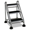Cosco® Rolling Commercial Step Stool, 3-Step, 26 3/5 Spread, Platinum/Black - 11834GGB1