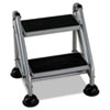 Cosco® Rolling Commercial Step Stool, 2-Step, 19 7/10 Spread, Platinum/Black - 11824GGB1