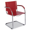 Safco® Flaunt Series Guest Chair, Red Leather/Chrome SAF3457RD