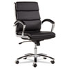 Alera® Alera Neratoli Series Mid-Back Swivel/Tilt Chair, Black Leather, Chrome Frame ALENR4219