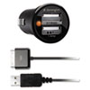 Kensington® PowerBolt Duo Car Charger, 2.1 + 1.0 Amp Ports, Detachable 30-Pin Cable KMW33497