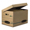 SYSTEMATIC Basic-Duty Attached Lid Storage Boxes, Letter/Legal Files, Kraft/Green, 12/Carton