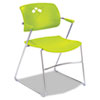Safco® Veer Series Stacking Chair With Arms, Sled Base, Grass/Chrome, 4/Carton SAF4286GS
