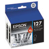 Epson® T127120D2 (127) DURABrite Ultra Extra High-Yield Ink, Black, 2/PK EPST127120D2