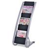 Alba Literature Floor Rack, Six Pocket, 13 1/3 x 19 2/3 x 36 2/3, Silver Gray/Black ABADDEXPO6