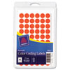 "Handwrite Only Removable Round Color-Coding Labels, 1/2"" dia, Neon Red, 840/Pack"