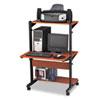 Mayline® Soho Adjustable Mobile Computer Table, 32w x 31d x 50h, Medium Cherry/Black MLN8432SOMECBLK