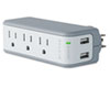 Belkin® Wall Mount Surge Protector, 3 Outlets/2 USB Ports, 918 Joules, Gray/White BLKBZ103050QTVL