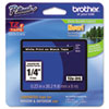 "<strong>Brother P-Touch®</strong><br />TZe Standard Adhesive Laminated Labeling Tape, 0.23"" x 26.2 ft, White on Black"