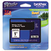 "Brother® P-Touch® TZe Standard Adhesive Laminated Labeling Tape, 1""w, White on Black BRTTZE355"