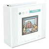 "Universal® Comfort Grip Deluxe Plus D-Ring View Binder, 4"" Capacity, 8-1/2 x 11, White UNV30754"