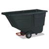 Rubbermaid® Commercial Rotomolded Tilt Truck, Rectangular, Plastic, 600lb Cap, Black RCP9T1800BLA