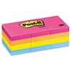 Post-it® Notes Original Pads in Cape Town Colors, 1 1/2 x 2, 100-Sheet, 12/Pack MMM653AN