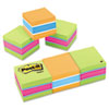 Post-it® Notes Mini Cubes, 2 x 2, Canary Yellow/Green Wave, 400-Sheet, 3/Pack MMM20513PK