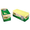 Post-it® Notes Greener Note Pad Cabinet Pack, 3 x 3, Canary Yellow, 75-Sheet, 24/Pack MMM654R24CPCY