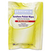 Boardwalk® Furniture Polish Wipes, 10 x 7, Lemon Scent, 24/Pack, 12 Packs/Carton BWK346W