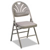 Cosco Products Fabric Padded Seat/Molded Fan Back Folding Chair, Kinnear Taupe, 4/Carton CSC36875KNT4
