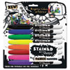 STAINED FABRIC MARKERS, MEDIUM BRUSH TIP, ASSORTED COLORS, 8/PACK