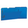 Deluxe Reinforced Top Tab Folders with Two Fasteners, 1/3-Cut Tabs, Legal Size, Blue, 50/Box