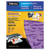 Fellowes Glossy SuperQuick Pouches - Letter, 3 mil, 100 pack - Sheet Size Supported: Letter - Lamina FEL5245801