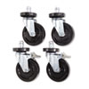 Alera® Optional Casters For Wire Shelving, 600 lbs./Caster, Gray, 4/Set ALESW590004