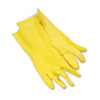 Flock-Lined Latex Cleaning Gloves, Large, Yellow, 12 Pairs