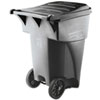 Rubbermaid® Commercial Brute Rollout Heavy-Duty Waste Container, Square, Polyethylene, 95gal, Gray RCP9W22GY