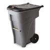 Rubbermaid® Commercial Brute Rollout Heavy-Duty Waste Container, Square, Polyethylene, 65gal, Gray RCP9W21GY
