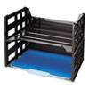 """HIGH RISE DESK TRAY, 2 SECTIONS, LETTER SIZE FILES, 13.25"""" X 9"""" X 10.25"""", BLACK, 2/PACK"""