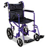 Medline Excel Deluxe Aluminum Transport Wheelchair, 19w x 16d, 300lb Cap - MDS808210AB